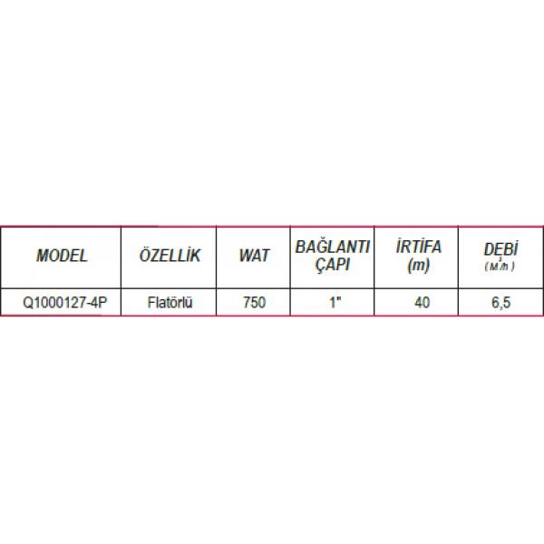 ULUSU Q1000127-4P 1000 (WATT) TEMİZ SU PLASTİK POMPA