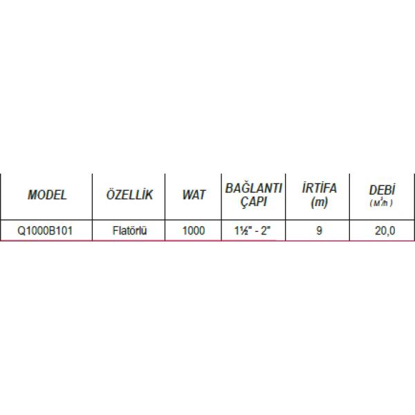 ULUSU Q1000B101 1000 (WATT) TEMİZ SU PLASTİK POMPA